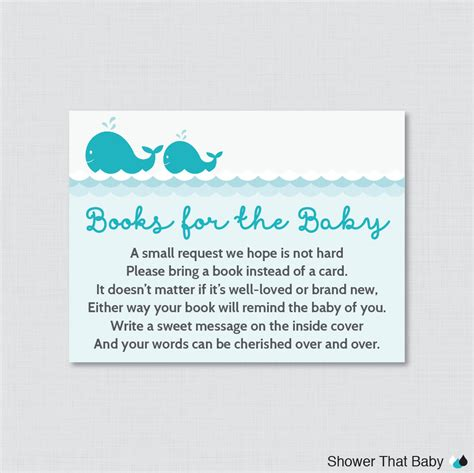 book instead of card baby shower whale baby shower printable bring a book instead of a card