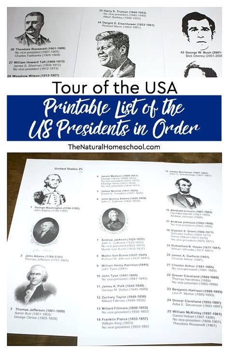 united states presidents list tour of the usa printable list of the us presidents in