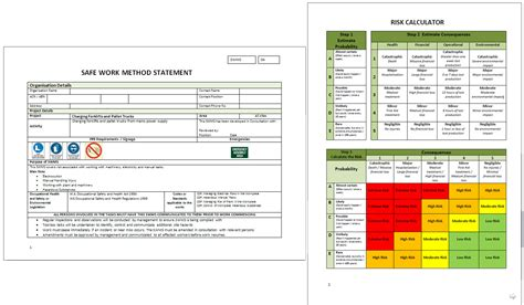 safe work plan template health safety management software maus software