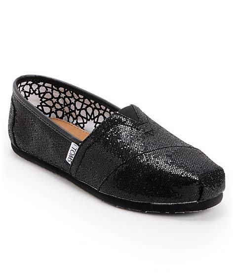 toms glitter shoes for toms classics black glitter womens shoes zumiez