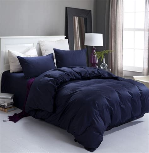 bed pillow sets new navy blue high quality home and hotel bedding set 2