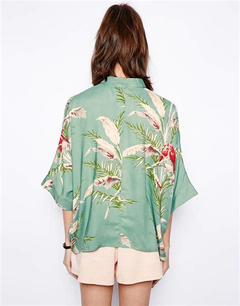 tropical blouse lyst asos tropical floral print sleeve kimono