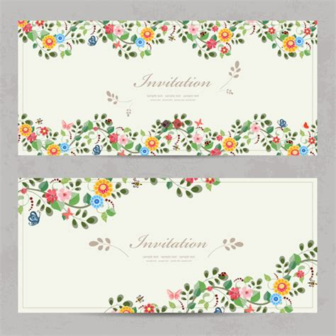 flower birthday card template vintage flower invitation cards vectors 02 vector card