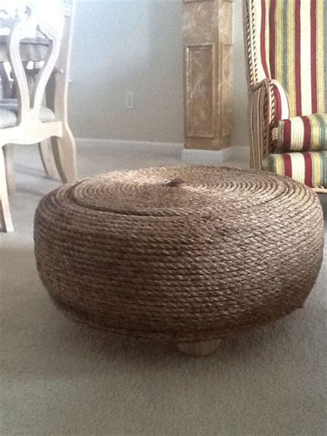 rope tire ottoman hometalk i upcycled a 26 quot used tire into an ottoman