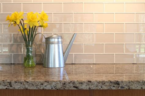 Kitchen Backsplash Ideas With Oak Cabinets country cottage light taupe 3x6 glass subway tiles