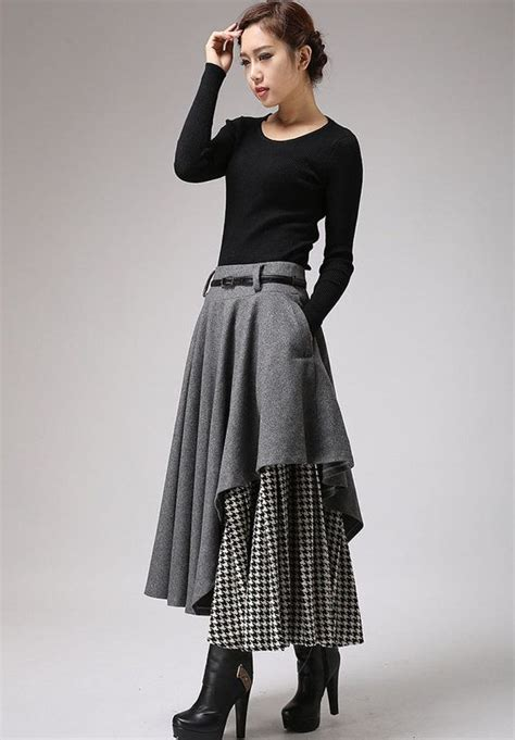 gray skirt tea length skirt warm winter skirt