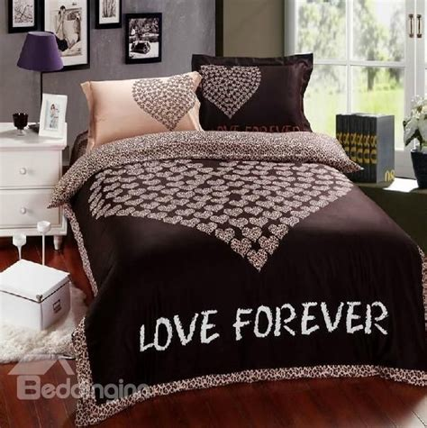 heart comforter 85 79 100 cotton love heart print brown bedding sets 4