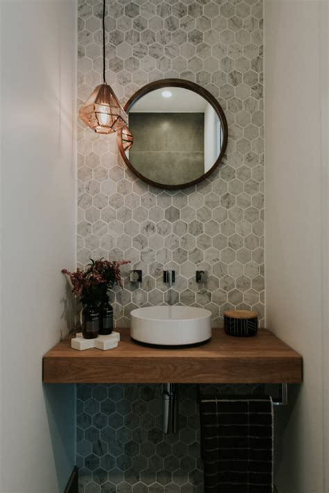 half bathroom tile ideas stunning powder room with marble hexagon wall tiles round
