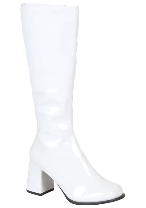white boots retro white gogo boots 70s disco accessories