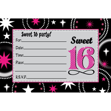16 birthday card templates sweet 16 invitations theruntime