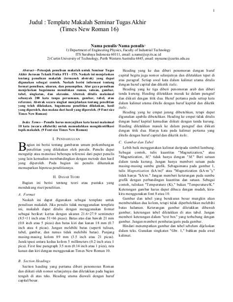 format makalah tugas template makalah seminar tugas akhir