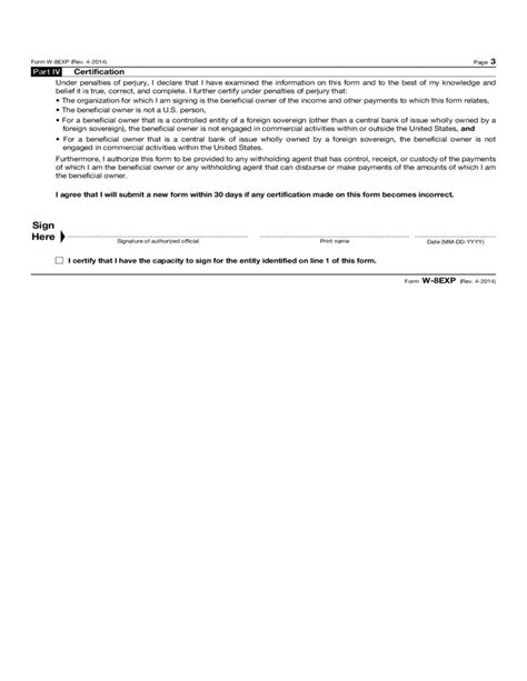 irs section 512 form w 8exp certificate of foreign organization for u s