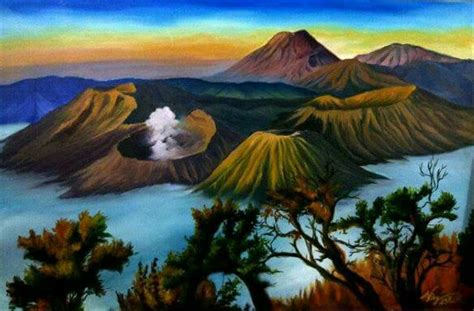 jual lukisan gunung bromo  lapak kaya karya andristhree