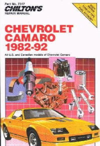 free service manuals online 1992 chevrolet camaro seat position control used chilton 1982 1992 chevrolet camaro repair manual