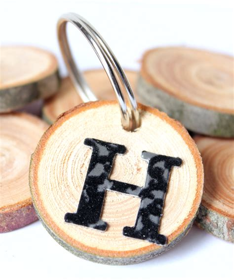 Wood Slice Monogram Keychain And Tags A Quick 5 Minute