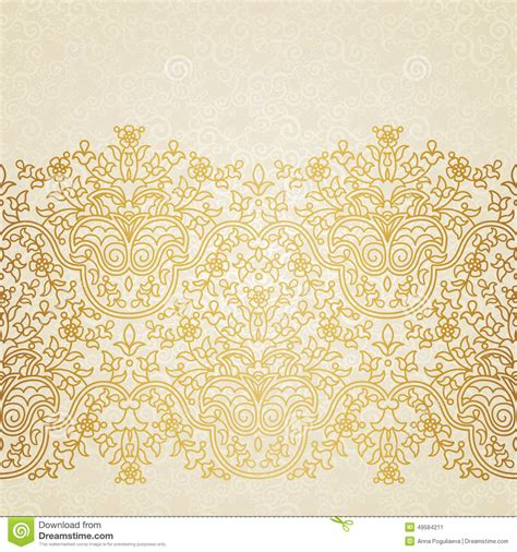 gold pattern border vector floral border in eastern style stock vector