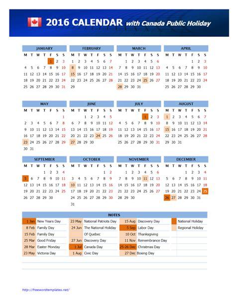 2016 canada calendar template word templates free word