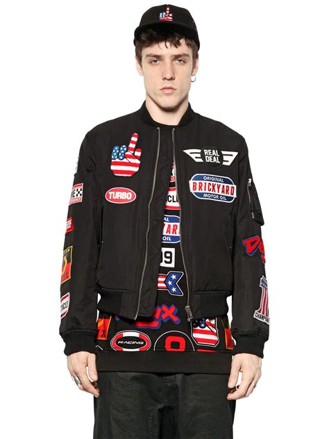 Patched Bomber Jacket moschino race patched cotton canvas bomber jacket in