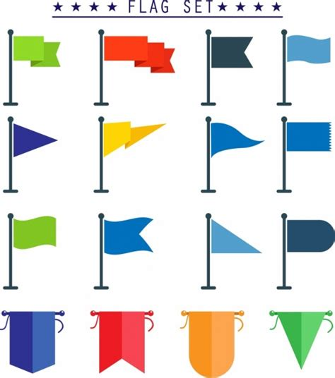 colored shapes flag template sets various colored shapes isolation free
