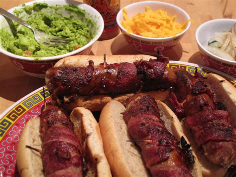 bacon wrapped dogs grill grilled bacon wrapped stuffed dogs tailgate grilling