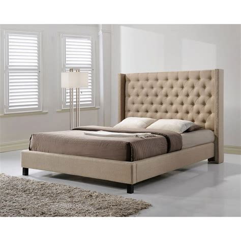 beige upholstered bed altos home pacifica beige queen upholstered bed alt q6512