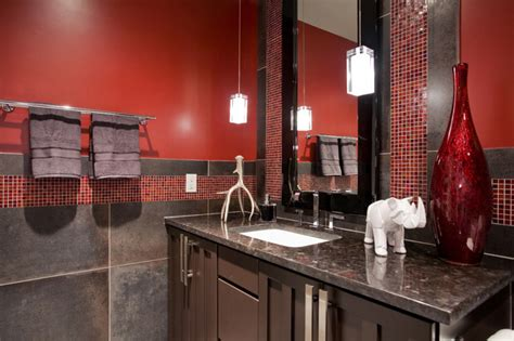 red bathroom ideas home design inside red charcoal bathroom contemporary bathroom phoenix