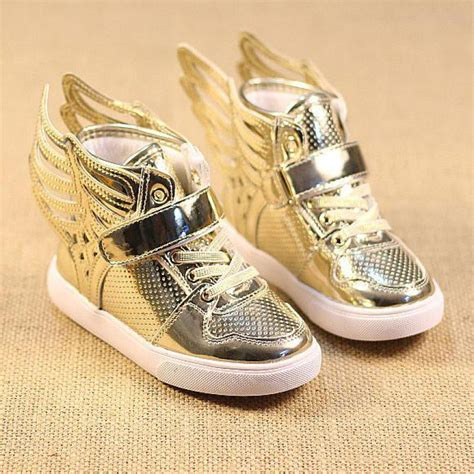 gold sneakers for toddlers gold solid wing high top fashion baby brand sport shoes