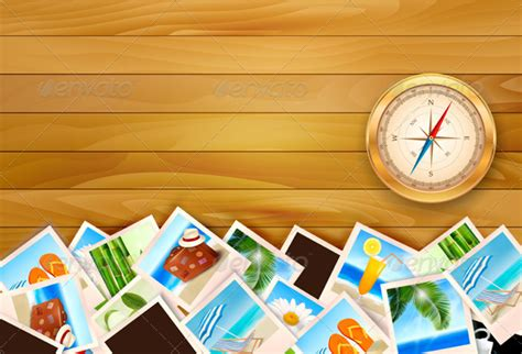 Travel Photos And Compass On Wood Background By Almoond Travel Powerpoint Background
