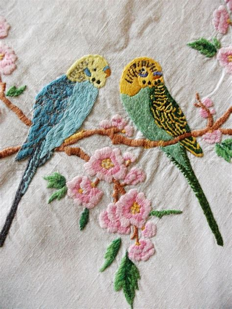 embroidery vintage vintage embroidered budgies textile embroidery