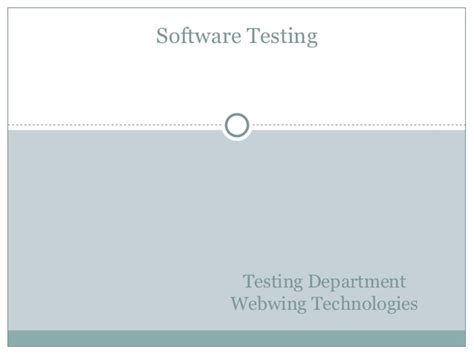 Mba After Software Testing by Basics Of Software Testing Webwing Technologies