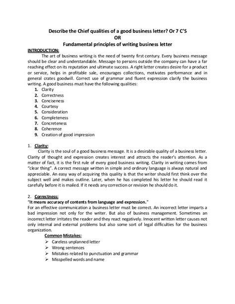 Business Letter Qualities Fundamental Principles Of Writing Business Letter 7 C S