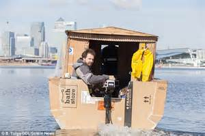 cardboard boat thames houseboat made from recycled material takes to the thames