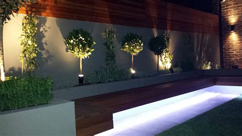 garden wall lights led modern small garden design clapham battersea balham