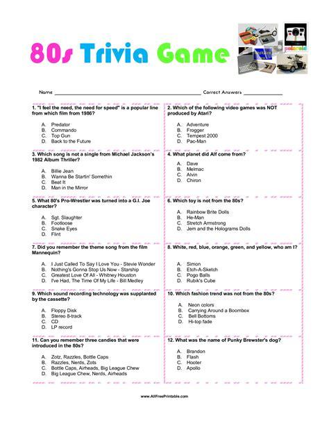 Printable Trivia free printable 80s trivia templates at
