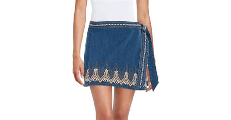 free embroidered denim wrap skirt in blue lyst