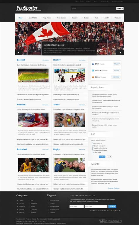 joomla sports template yousporter premium joomla sports magazine template
