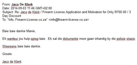 Testimonials 2013 Firearm License testimonials 2014 171 firearm license co za