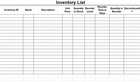 Inventory List Inventory List Template Product Inventory Template