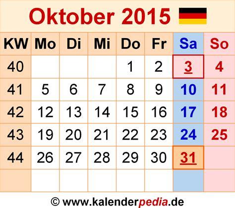 Kalender 2015 Oktober Kalender Oktober 2015 Als Excel Vorlagen