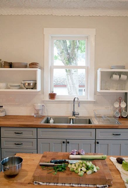 Painting Butcher Block Countertops - light gray kitchen cabinets butcher block wall paint