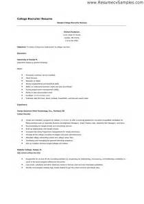 College Recruiter Description by Sle Cover Letter College Recruiter Cover Letter Templates