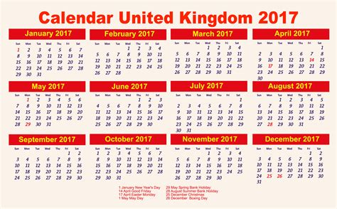 printable yearly calendar 2017 uk calendar 2017 50 important calendar templates of 2017