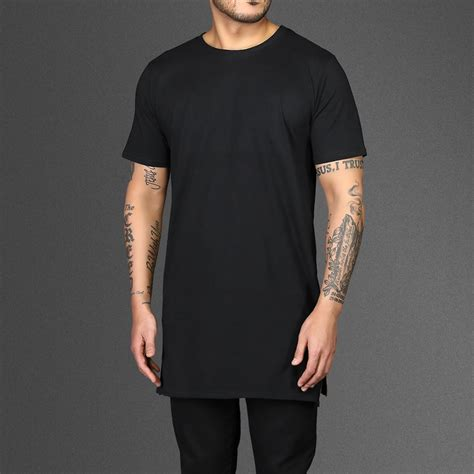 longline black zip t shirt