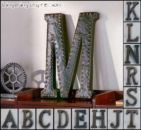 vintage metal monogram initials industrial style wall