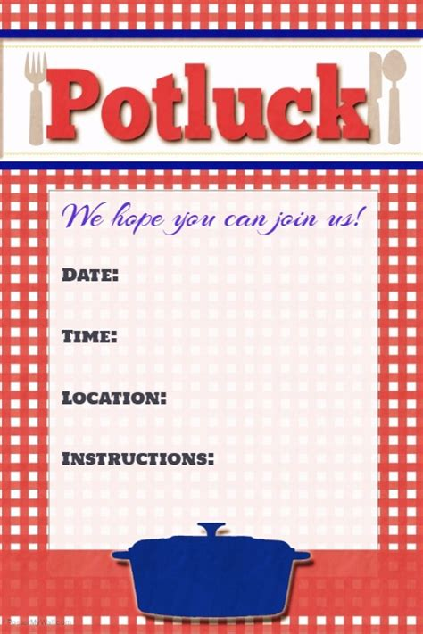 Potluck Flyer Template potluck flyer potluck poster invitation announcement sign