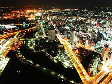 lights road building horizon yokohama night japan