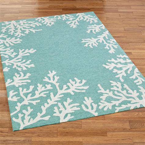 Coral Area Rug Coral Border Indoor Outdoor Area Rugs By Liora Manne