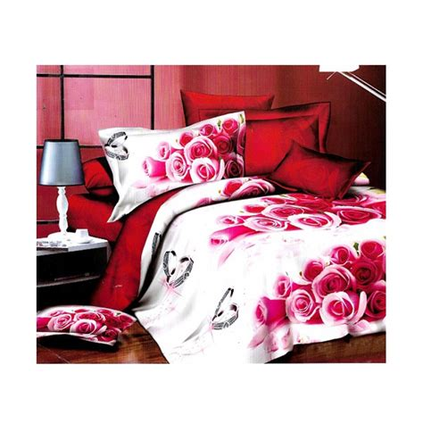 Bedcover Set Polos 160 X 200 X 20 Size No 2 Rosewell Pink Tua 3d white roses satin cotton bedsheet sd 0329