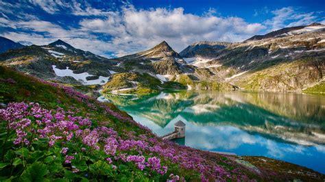 spring landscape spring landscape wei 223 seeglacier austria lake mountain