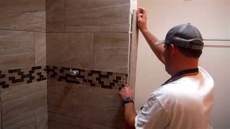 how to cut bathroom tile install shower tile edging trim quick and easy youtube
